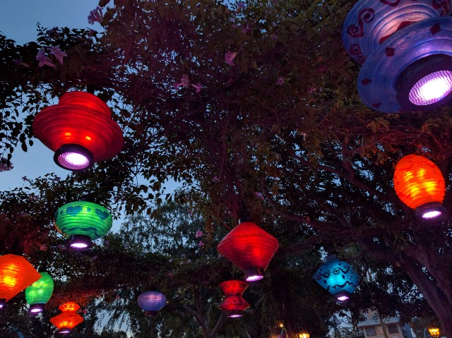 Lanterns above Mad Tea Party Disneyland
