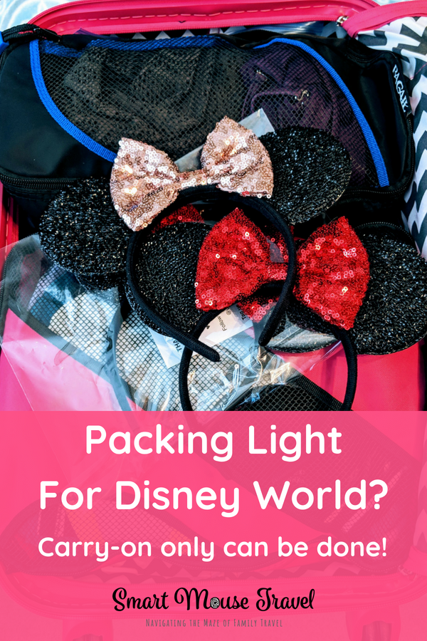 Are you heading to Disney for a short visit? Then I challenge you to pack light for Disney World using my tested tips. They even work for runDisney trips! #rundisney #disneypacking #disneyworld #packing