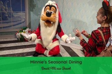 Minnie's Seasonal Dining character meal at Hollywood Studios lets you see classic characters ready to celebrate seasons like Christmas and Halloween. #disneyworld #disneychristmas #minniemouse #mickeymouse #disneycharactermeal