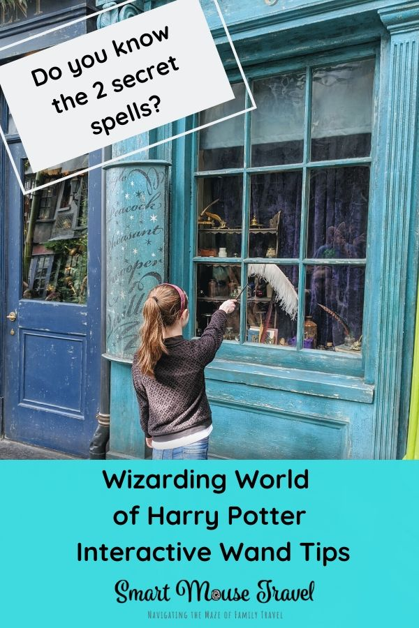 Wizarding World of Harry Potter interactive wands at Universal Orlando give you the chance to perform magic! Here are tips plus two secret spell locations. #wizardingworldofharrypotter #ollivanders #harrypotter #universalorlando