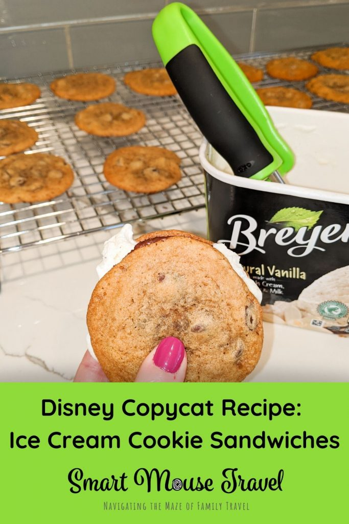 Make your own Disney copycat ice cream cookie sandwich inspired by ones from Disney World's Beaches and Cream with this chocolate chip cookie recipe. #disneycopycatrecipe #disneytreats #icecreamsandwich