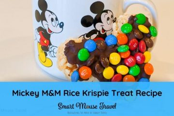 Make your own Mickey M&M Rice Krispie Treat Disney copycat recipe at home for a delicious snack until you can visit Disney World or Disneyland again.