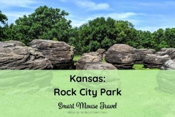 Rock City Park is a great Kansas road trip stop. Stretch your legs and climb huge boulders formed millions of years ago at Rock City. #familytravel #roadtrip #kansas #roadsideattraction