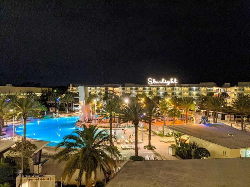 Nighttime view of Cabana Bay Beach Resort pool