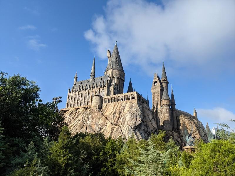 Bright blue skies behind Hogwarts castle at Universal's Islands of Adventure.