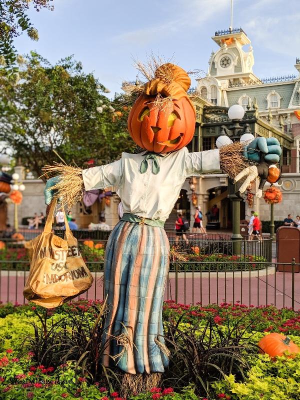 Scarecrow on Main Street USA at Magic Kingdom for Halloween.