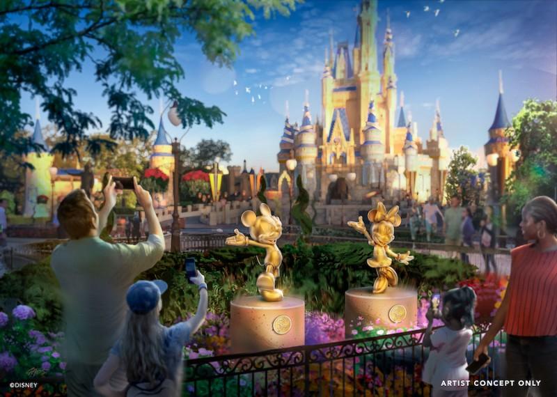Artist rendering of golden character statues for Disney World 50th anniversary celebration.
