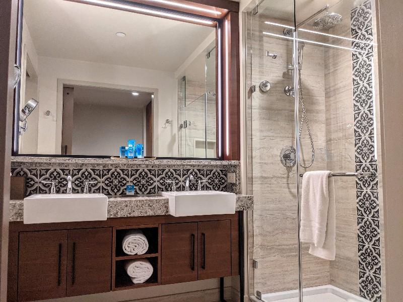 Mosaic tiles and a double sink make Coronado Springs Gran Destino Tower rooms feel luxurious.