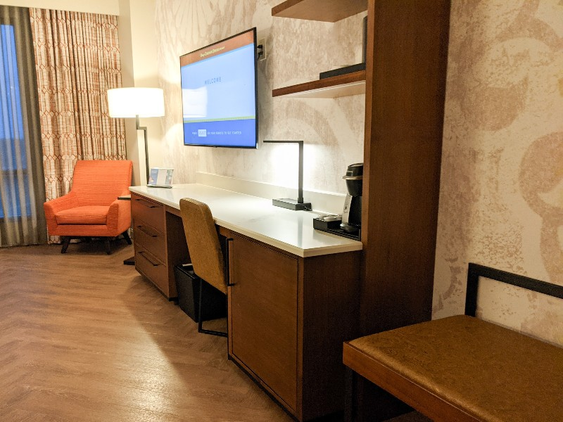 Built in desk with hidden mini fridge and Keurig coffee pot in our Gran Destino Tower water view room.