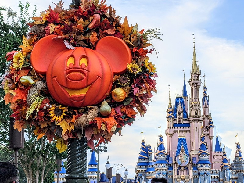 Mickey wreath in front of Cinderella Castle during Disney After Hours Boo Bash