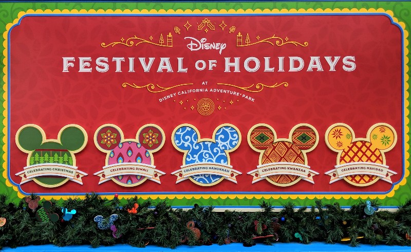 Festival of the Holidays at Disney California Adventure Park sign