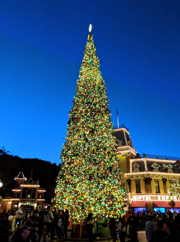 A 60 foot Christmas tree and lights all along Main Street bring a warm glow to the entrance of Disneyland