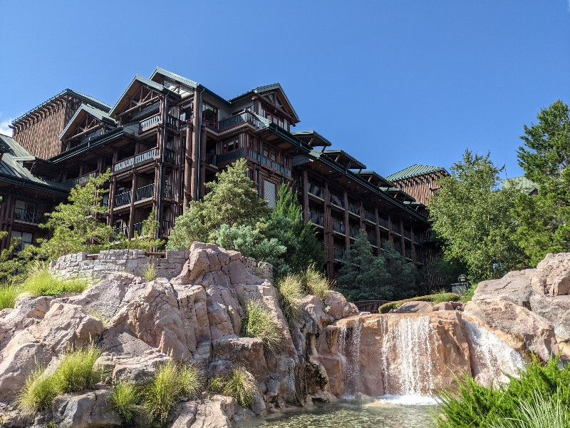 Outdoor view of Copper Creek Falls at Disney's Wilderness Lodge