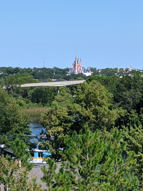 A view of the monorail tracks just below Cinderella Castle from a Disney's Wilderness Lodge Nature View Room