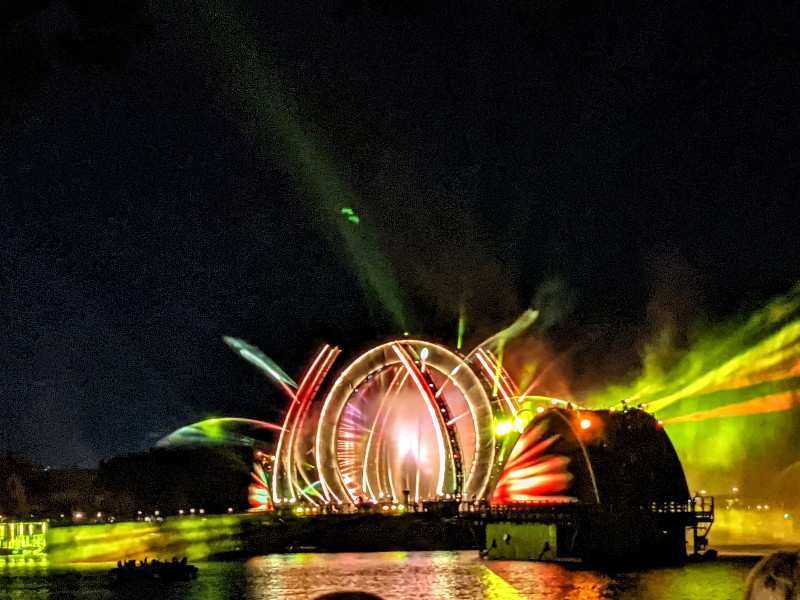 Water provides a canvas for projections at Epcot Harmonious fireworks