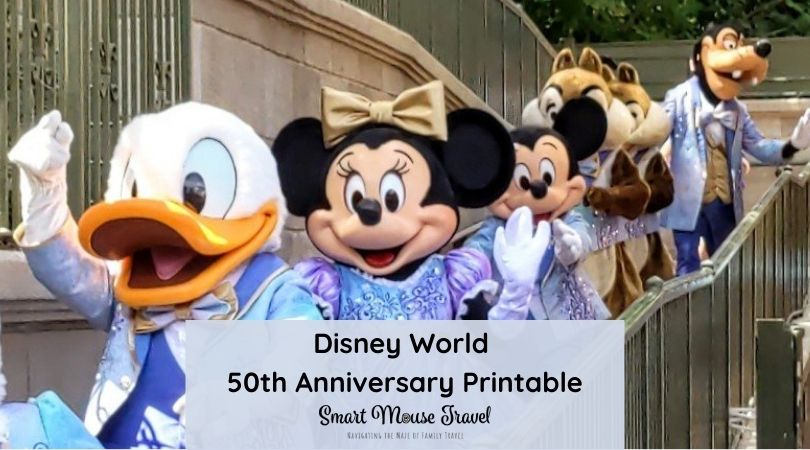 Use our free printable Disney World 50th anniversary bingo card to keep track of new decorations, fireworks, attractions and more!